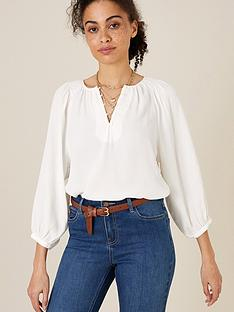 monsoon-button-front-three-quarternbspsleeve-top-ivory