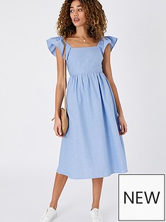 accessorize-frill-shoulder-midi-dress-blue