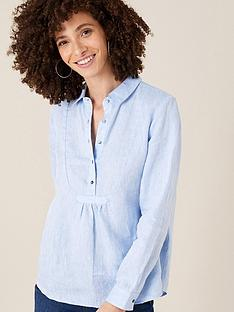 monsoon-dobby-linen-shirt-blue