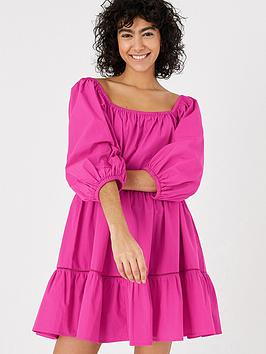 accessorize-puff-sleeve-poplin-dress-pink