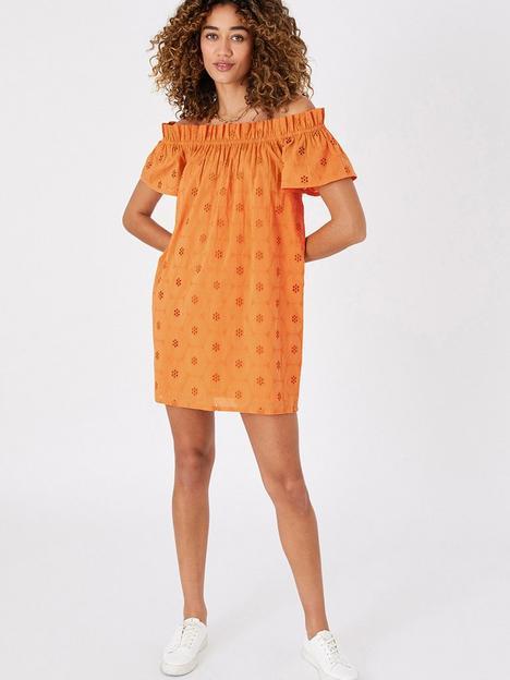 accessorize-schiffli-bardot-beach-dress-orange