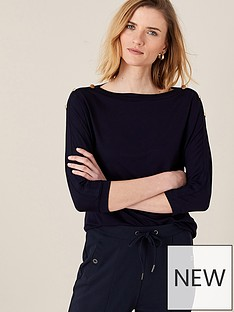 monsoon-priya-plain-long-sleeve-button-top-navy