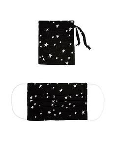 monsoon-pleated-star-print-face-covering-with-pouchnbsp--black