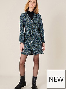 monsoon-v-neck-short-printed-dress-black