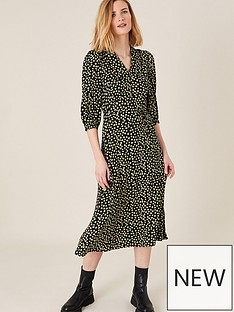 monsoon-yellow-floral-print-collar-dress-black