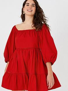 accessorize-puff-sleeve-poplin-dress-red