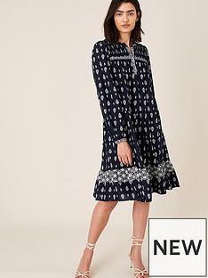 monsoon-heritage-print-short-dress-navy