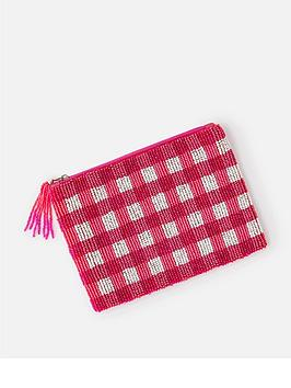 Accessorize Check Gingham Pouch - Pink