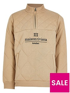 river-island-boys-half-zip-quilted-sweat-top-stone