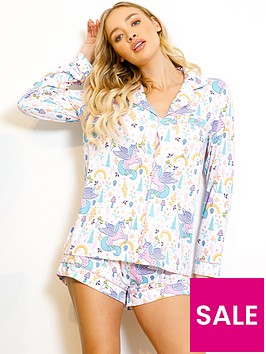 chelsea-peers-unicorn-revere-shorts-pyjama-set-white