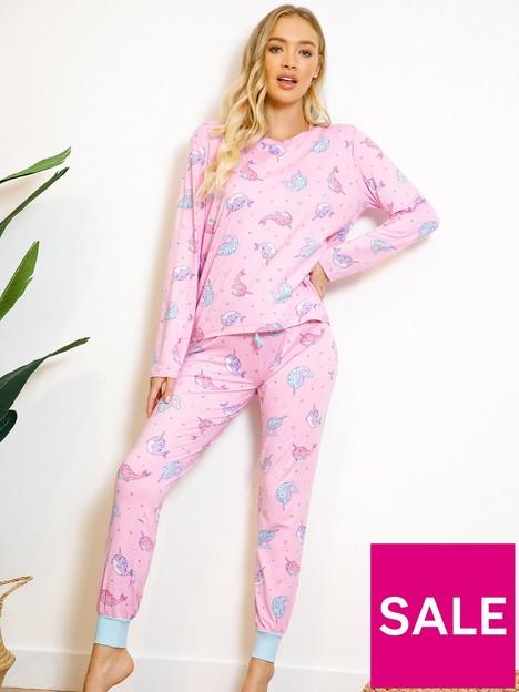 chelsea-peers-narwharl-unicorn-longnbspsleeve-pyjama-set-pink