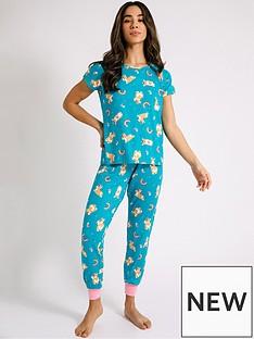 chelsea-peers-corgi-unicorn-short-sleeve-pyjama-set-blue