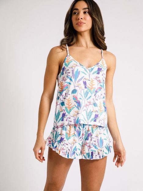 chelsea-peers-toucan-satin-cami-vest-short-pyjama-set-white