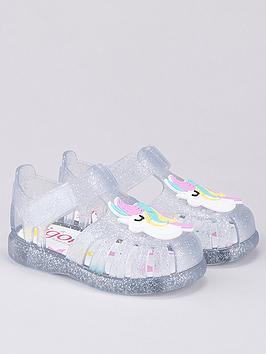 Igor Girls Tobby Unicorn Jelly Sandals - Glitter, Glitter, Size 3 Younger