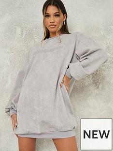 missguided-missguided-rubber-missguidednbspbasic-sweater-dress-grey