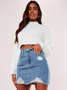 missguided-ripped-denim-mini-skirt