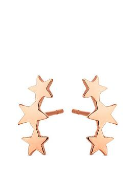 simply-silver-polished-rose-gold-plated-three-star-climber-earrings