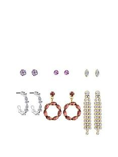 mood-two-tone-plated-tonal-pink-pretty-6-pack-earrings