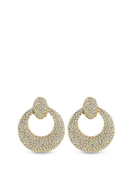 mood-gold-plated-crystal-pave-round-doorknocker-earrings