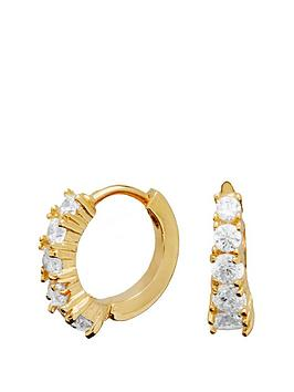 simply-silver-sterling-silver-925-12ct-yellow-gold-plated-cubic-zirconia-huggie-hoop-earrings