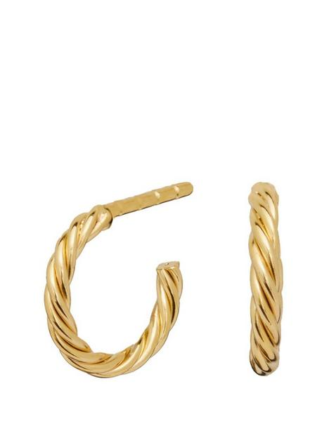 simply-silver-sterling-silver-925-12ct-yellow-gold-polished-mini-twist-hoop-earring