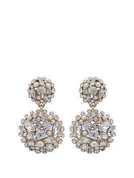 mood-mood-gold-plated-cream-pearl-and-crystal-cluster-drop-earring