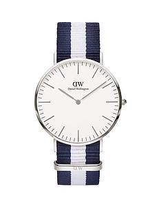 daniel-wellington-daniel-wellington-glasgow-white-and-silver-gold-detail-40mm-dial-blue-and-white-stripe-nato-strap-watch