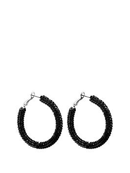 mood-mood-silver-plated-jet-crystal-pave-tube-hoop-earrings