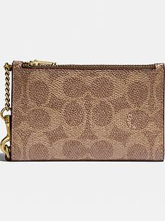 coach-coated-canvas-signature-zip-chain-card-case-tan