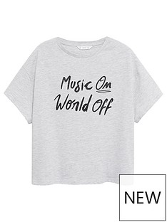 mango-teen-girls-music-on-slogan-short-sleeve-t-shirt-grey