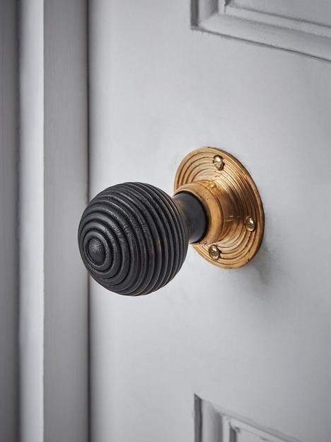 cox-cox-beehive-door-knob-black-brass