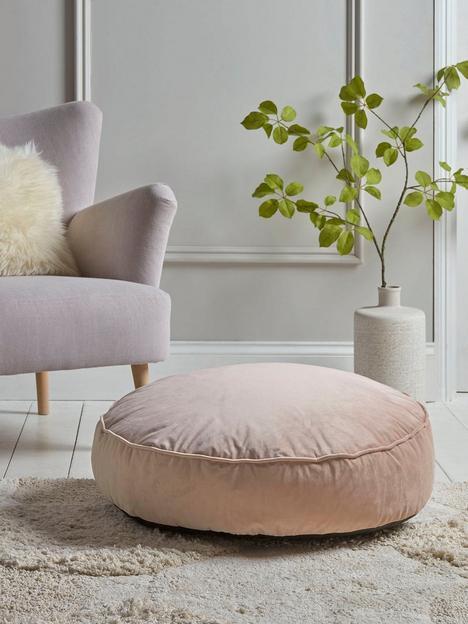 cox-cox-velvet-round-floor-cushion-blush