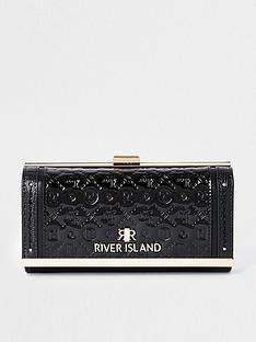river-island-embossed-patent-cliptop-purse-black