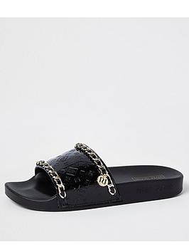 River Island Embossed Chain Detail Slides - Black, Black, Size 2, Women