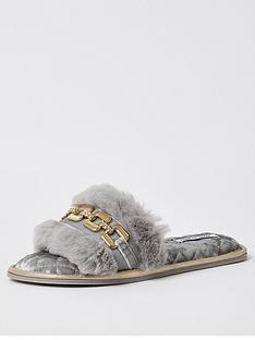 river-island-open-toe-faux-fur-slipper-grey