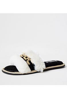 river-island-open-toe-faux-fur-slipper-cream
