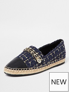 river-island-chain-detail-boucle-espadrille-shoe-navy