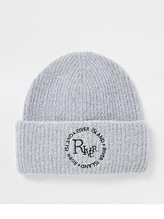river-island-embroidered-pomless-beanie-grey