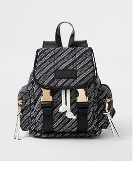 River Island Branded Casual Backpack - Black, Black, Women