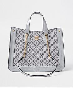 river-island-monogram-chain-handle-square-shopper-grey