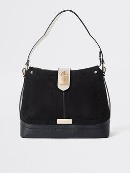 River Island Padlock Slouch Bag - Black, Black, Women