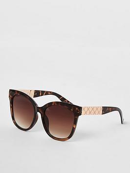 River Island Tortoise Print Oversized Sunglasses - Brown, Brown, Women