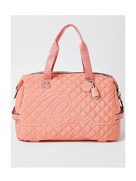 River Island Branded Gym Bag - Coral, Coral, Women