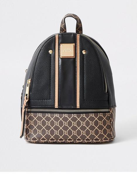 river-island-small-monogram-panel-backpack-black