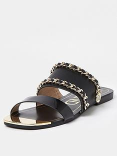 river-island-chain-branded-flat-sandal-black