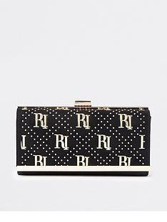 river-island-ri-studded-cliptop-purse-black