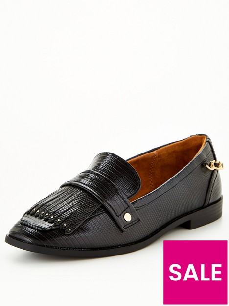 river-island-chain-detail-flat-loafer-black