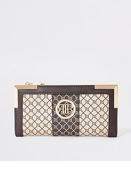 river-island-monogram-metal-corner-purse-brown