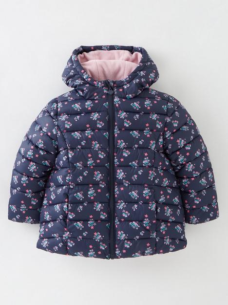 mini-v-by-very-girls-fullnbspfleece-lined-floral-padded-coat-navy