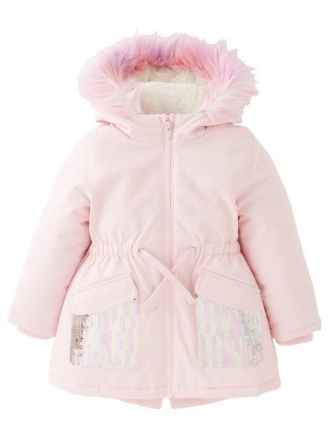 mini-v-by-very-girls-sequin-detail-fauxnbspfur-trim-half-fur-linednbspparka-pink
